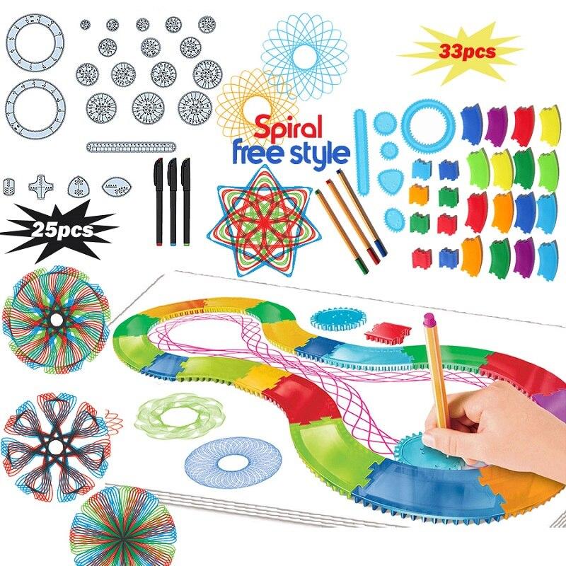 25/30PCS Spirograph Drawing Toys Geometric Ruler Tin Set Draw Spiral Designs Interlocking Gears & Wheels Draw Educational Toys naiyue 7185 fierceness print draw diamond drawing