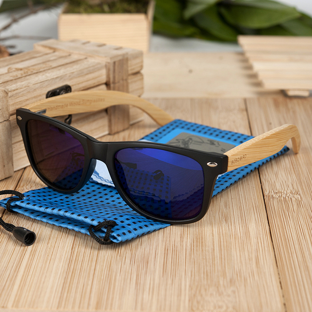 BOBO BIRD Square Vintage Sunglasses Men Women Wood Sun Glasses Retro Polarized oculos Brand 2