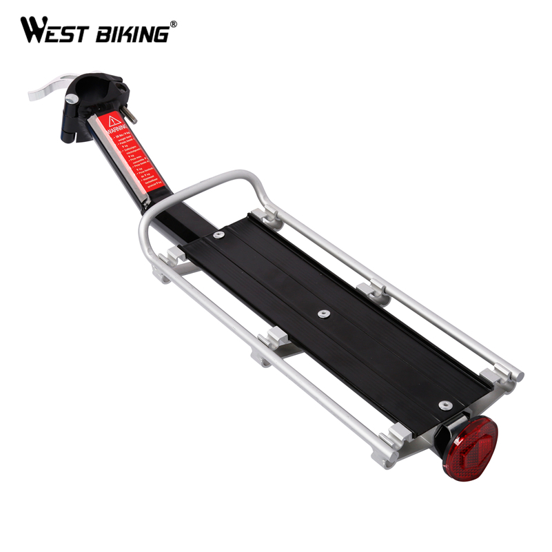 WEST BIKING Bicycle Cargo Racks Cycling Rear Seat Luggage Rack 10KG Load Quick Release Safety Bike Seatpost Rack With Taillight 2018 bike luggage cargo rear rack can be acted as power bank useful bicycle rear carrier racks new bicycle accessories