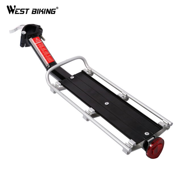 WEST BIKING Bicycle Cargo Racks Cycling Rear Seat Luggage Rack 10KG Load Quick Release Safety Bike Seatpost Rack With Taillight