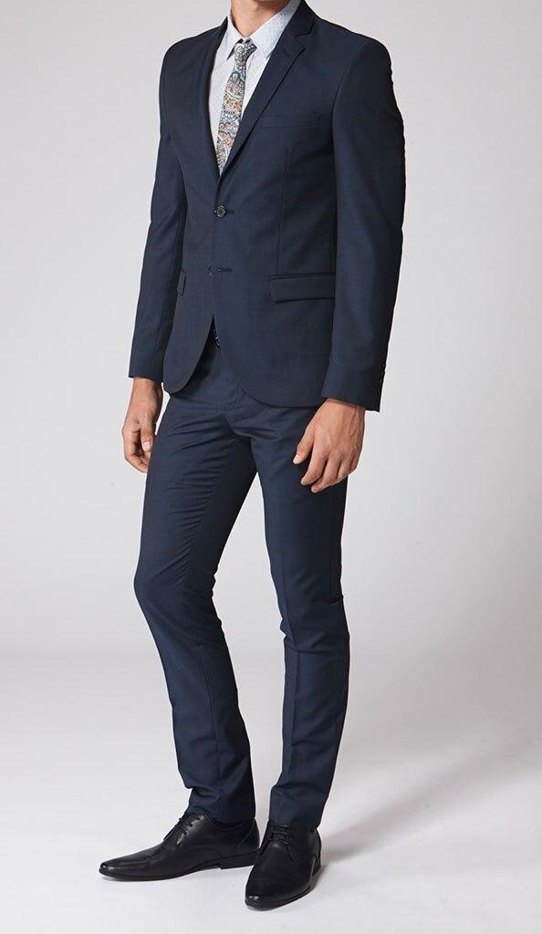 Online Shop Dark Navy Groom Suits Custom Made Men Suit Bespoke ...