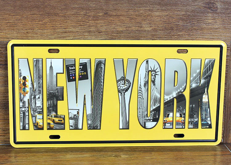 High Quality Vintage Metal Tin Signs Rone0132 Letter Signs New York License Plates Wall Art Craft Home Decor 15x30cm