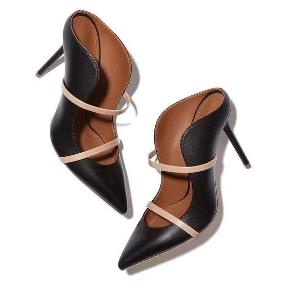 4c236934be8 Women Shoes High Heel Black Leather Mules Pointed Toe Slip-on Shoes High  Heels Zapatos Mujer Women Dress Party Shoes Women