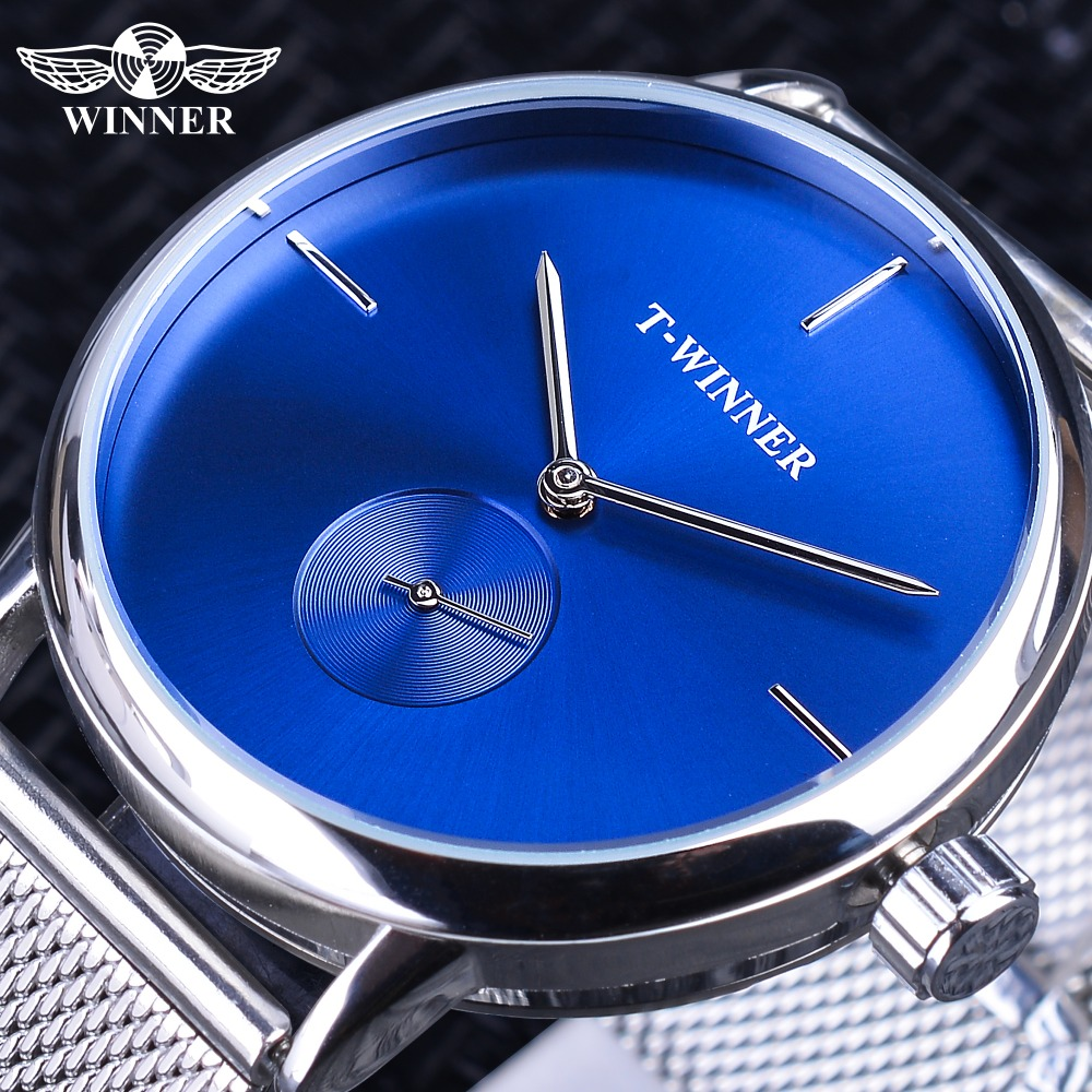 Winner 2019 Fashion Blue Display Silver Mesh Belt Transparent Dial Men's Mechanical Wristwatches Top Brand Luxury Waterproof 1