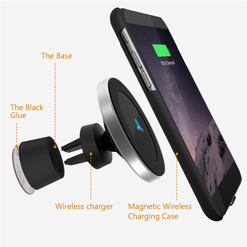 Qi 5V 1A Wireless Car Charger 360 Rotary Car Mounted magnetic phone holder for iPhone7 8 X Samsung S6 S7 S8 S8plus J30