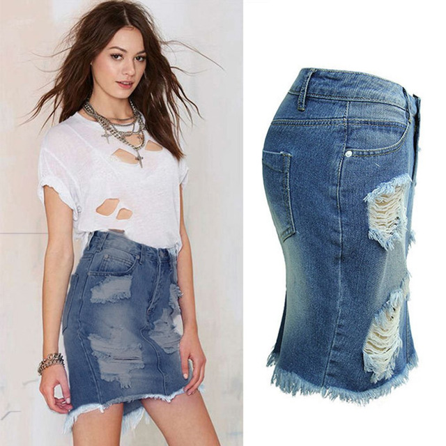 068a7e4364 Plus Size Denim Skirts Women Vintage High Waist Jean Skirts Back Split  Ripped Jeans Skirts Women Bodycon Denim Skirts 2017 hot