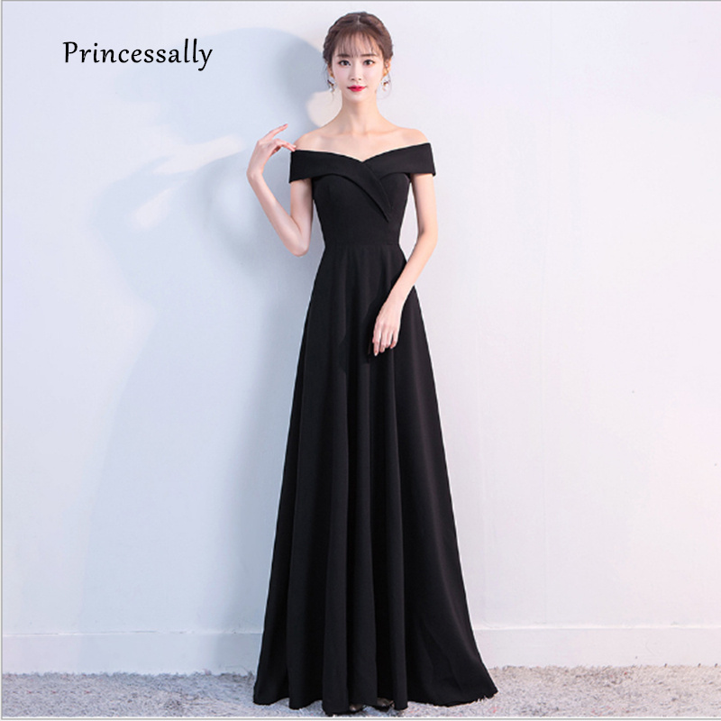 New Black Simple Evening Dress Boat Neck A-line Fromal Evening Gown For Bridal Mon Formal Prom Gown Vestidos Abendkleider 2019 gown