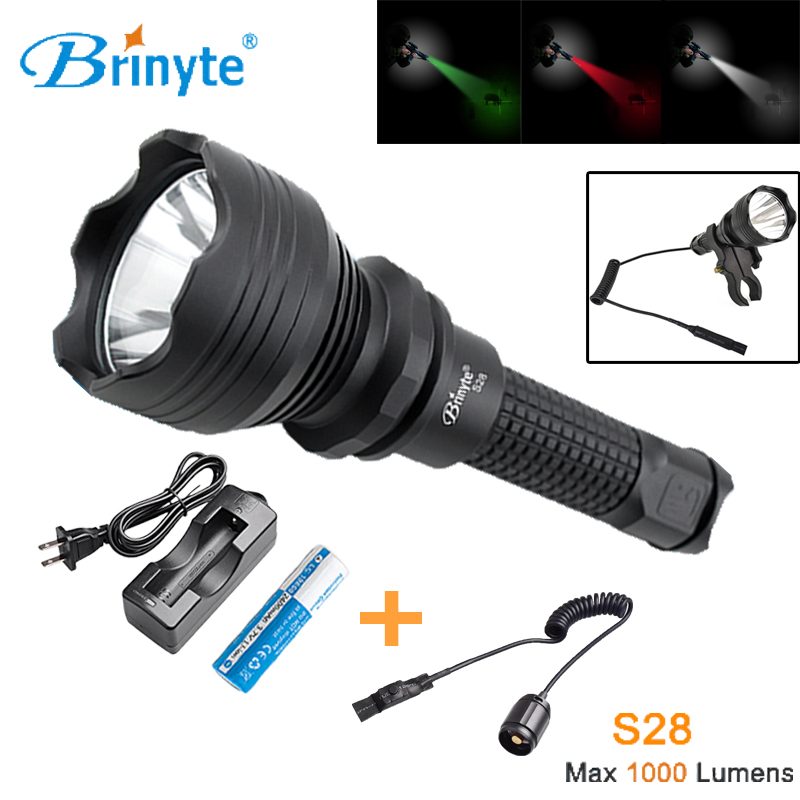 Brinyte S28 Outdoor Military Torch Light Cree XM-L2 U4 LED Police Search and Rescue Flashlight with 18650 Battery and Charger brinyte b158 high power torch flashlight cree xm l2 u4 led hunting flashlight zoomable hunting torch with battery and charger