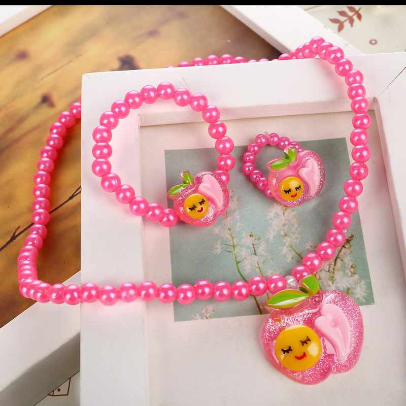 Fashion Imitation Pearl Beaded Jewelry Sets Resin Heart Smiling Short Necklace Bracelet Ring 3pcs/lot Best Gift For Kid
