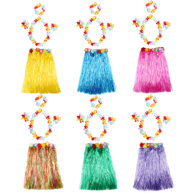 Hawaii Dance Hula Skirt Garland Adult Child Hula Skirt Dress Wreath Accessories 5-pieces Flower Headdress Hair Neck Wristband ...