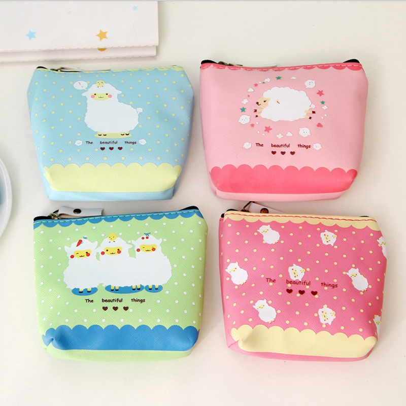 PACGOTH Cartoon Cute PU Leather Coin Purse Sheep Animal Prints Pink Blue Colors Kawaii Square Coin Money Comestic Bags 1 Piece pacgoth japanese and korean style pu leather coin purse casual animal prints cute cats hot lip pattern zipper cash pouch 1 piece