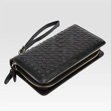Wholesale leather  hand bag woven double zipper long purse Men's fashion leisure Day Clutches man women women leather Wallets