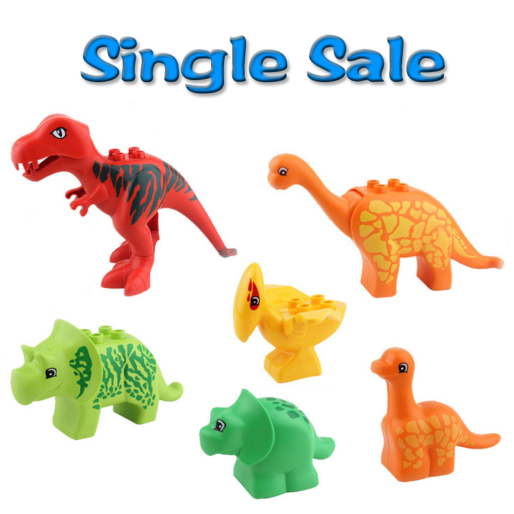 Dinosaur Big Building Blocks Classic Accessories Baby child Toys Animal Set DIY Bricks Compatible with Duplo Gift 79151 jurassic dinosaur tyrannosaurus building blocks dinosaur figures bricks toys compatible with blocks toys