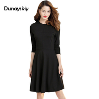 Autumn Winter New Woman Dress Solid Defined Waist Office Lady Dresses Knee Length O Neck Work