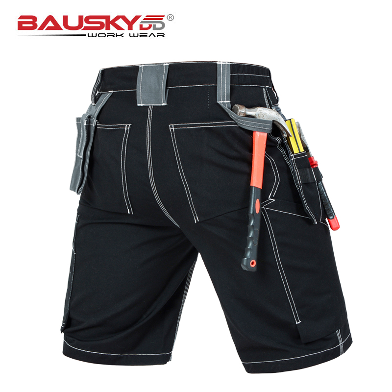 Mens Cargo Pants Polyester Cotton Fabric For Repairman Mechanic Short Work Pants With Multi-functional Tool Pockets Solid Color
