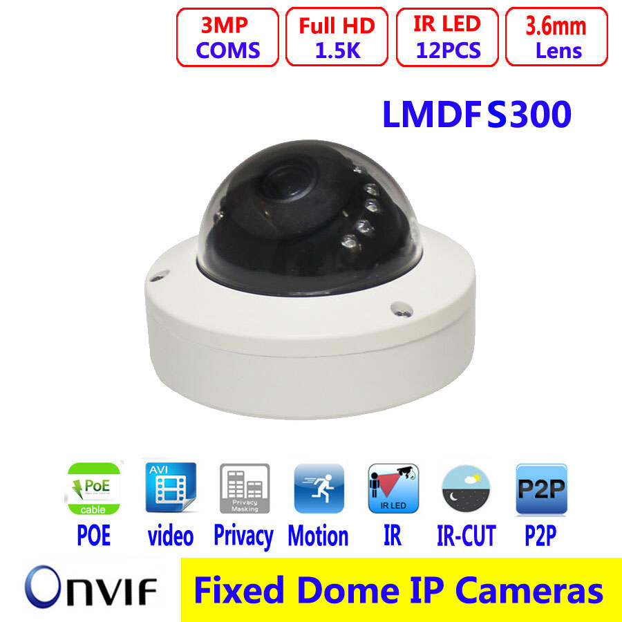 3MP Mini Dome Camera HD IP Network web onvif P2P 1080P IR Video Webcam Night vision free android Infrared Security CCTV Camera 4 in 1 ir high speed dome camera ahd tvi cvi cvbs 1080p output ir night vision 150m ptz dome camera with wiper