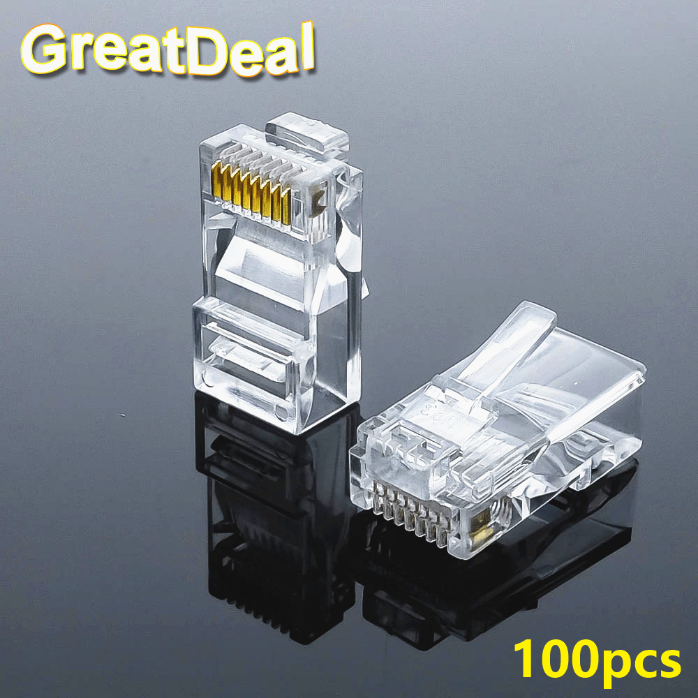 100pcs 8Pin RJ45 Connector CAT5 CAT5e Cat6 Modular Cable Plugs Socket Network Ethernet RJ45 Crystal Plug RJ45 Connectors HY327 rj45 connector cat5 cat6 lan ethernet splitter adapter 8p8c network modular plug for pc laptop 10pcs aqjg