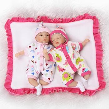 8inch 20cm Cotton Body Cute Super Mini Baby Lifelike Newborn Twin with Lovely Clothes Silicone Reborn Baby Dolls Twins