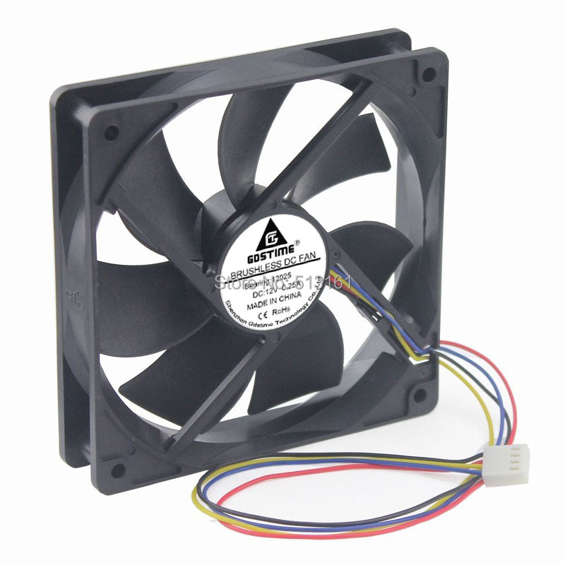 2 PCS Gdstime 120mm 120x120x25mm 12cm DC 12V 4Pin PWM Computer Cooling Cooler Fan in Fans Cooling from Computer Office