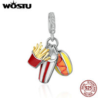 WOSTU Authentic 925 Sterling Silver Delicacy Temptation Burgers Dangle Charm Fit Original WST Bracelets Jewelry Gift