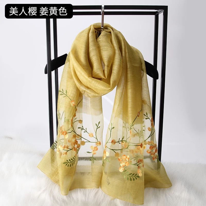 190x85cm Women Fashion Floral Embroidered Silk Scarves Shawl Wrap Winter Neck Long Scarf Ladies Wraps