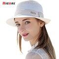 2016 Sólido Ocasional Primavera Sombreros de Verano Para Las Mujeres Del Sombrero Del Sol de Las Mujeres de Moda Playa de la Paja Sombreros Blancos Transpirable Sombreros de Mujer de Verano