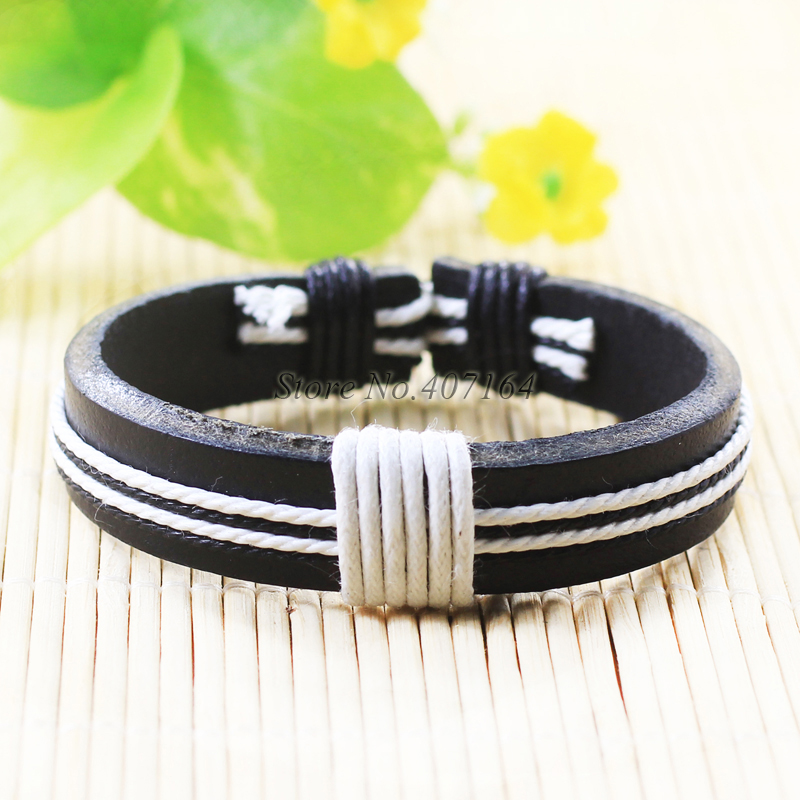 SF242-vintage style men wristband handmade woven ethnic genuine braided bangle leather bracelet for women wrap charm unisex