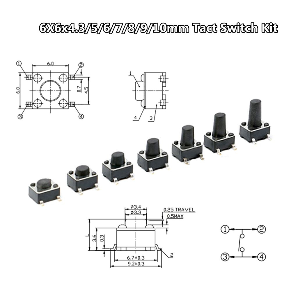 50pcs Lot Tact Tactile Push Button Micro Switch Smd Momentary Smt 2 Wiring 70pcs 7 Values 6x6x43 5 6 8