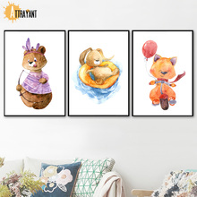 Watercolor Bear Rabbit Fox Wall Art Canvas Painting Nordic Posters And Prints Animal Pictures Kids Baby Room Home Decor