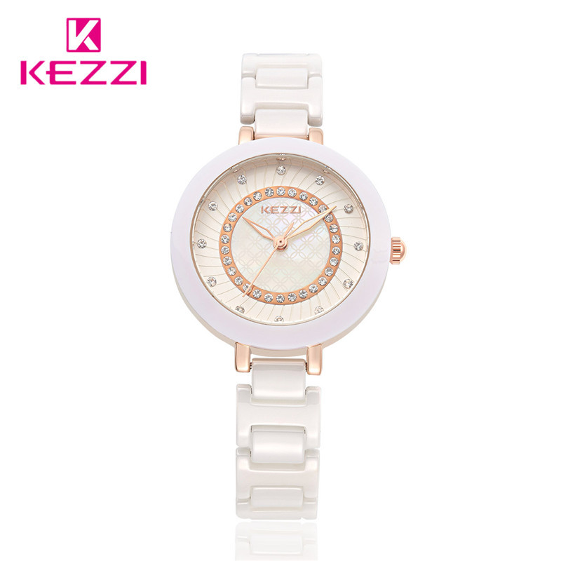 Fashion New Arrival  100% Ceramic Top Brand KEZZI Ladies Wristwatch Crystal Stone Ceramic Watch Women free shipping kw-1189