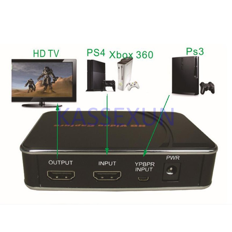 2017 new Video Audio Capture Card, convert 1080P HDMI YPbPr to U driver HDMI for xbox one game box ps3 Free shipping 2017 new ypbpr video grabber convert hdmi 1080p ypbpr to hdmi u driver for xbox one 360 ps3 ps4 free shipping