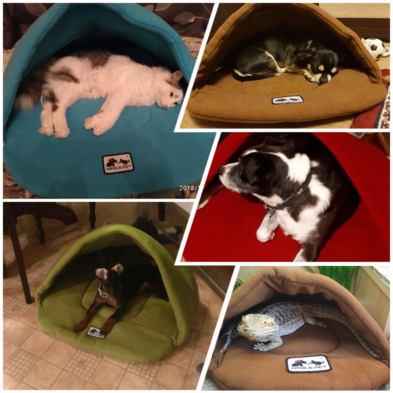 6 Colors Soft Polar Fleece Dog Beds Winter Warm Pet Heated Mat Small Dog Puppy Kennel House for Cats Sleeping Bag Nest Cave Bed 4