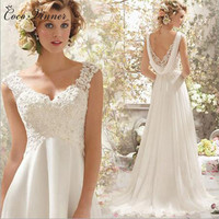 C V French Style Luxury Lace Training Beach Wedding Dress Backless High Waist Sexy Lace Princess