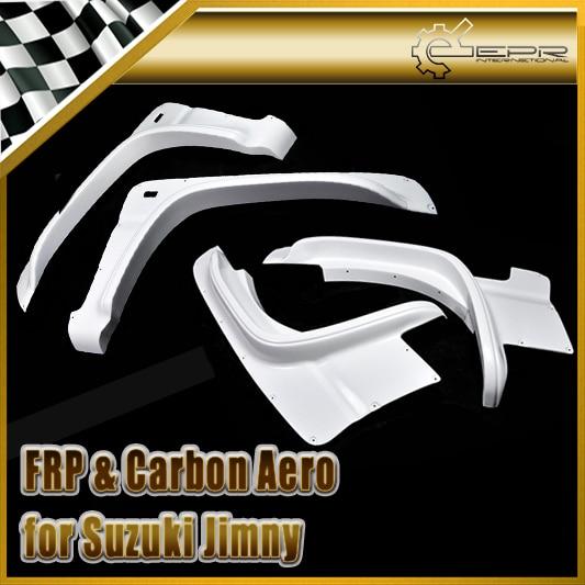 FRP волокна Стекло автомобиля Стиль Fender набор для Suzuki Jimny волокно Стекло передних и задних колес арки автомобиля аксессуары гонки комплект бо...