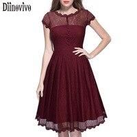Vestidos Hot Sale Summer Vintage Women Elegant O Neck Short Sleeve Lace A Line Dress Black