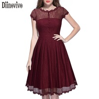 Vestidos Hot Sale Summer Vintage Women Elegant O Neck Short Sleeve Lace A Line Dress Black