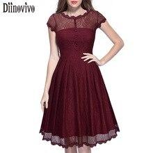 Vestidos Hot sale Summer Vintage Women Elegant O-Neck Short sleeve Lace A-Line Dress Black Wine Red Female Casual Dresses 386