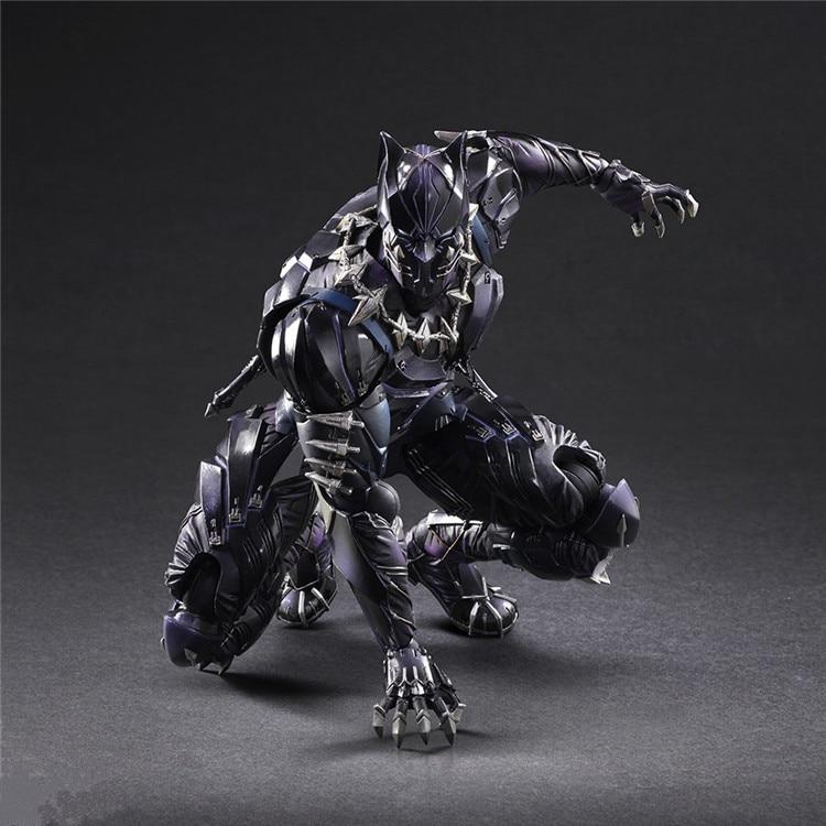 PLAY ARTS 27cm Marvel Avengers Black Panther Super Hero PVC Action Figure Model Toy