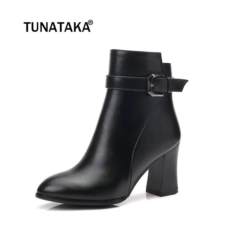 Women Thick High Heel Ankle Boots Fashion Buckle Side Zipper Round Toe Shoes Woman Black Red women platform square high heel ankle boots fashion side zipper round toe shoes woman black white beige