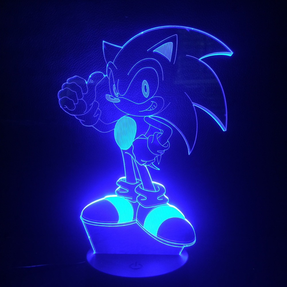 Game Sonic The Hedgehog Kids LED Night Light Home Decorative Lamp Child Kids Baby Gift 7 Color Changing Desk Lamp Bedside Deco in LED Night Lights from Lights Lighting