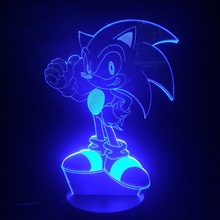 Game Sonic The Hedgehog Kids LED Night Light Home Decorative Lamp Child Baby Gift 7 Color Changing Desk Bedside Deco