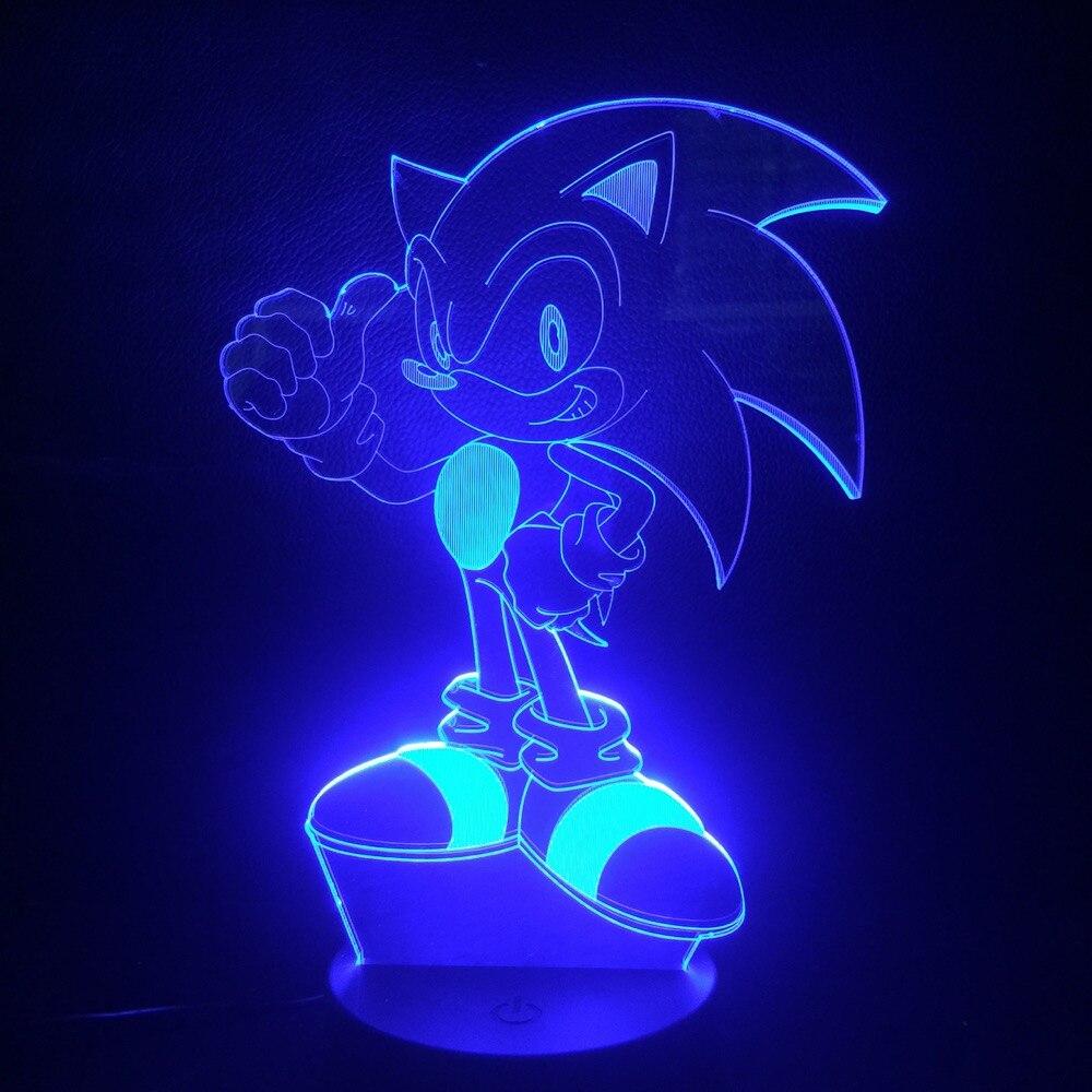 Jogo Sonic The Hedgehog Crianças Luz CONDUZIDA Da Noite Lâmpada Decorativa Para Casa Criança Presente Do Bebê Crianças 7 Mudança Da Cor Lâmpada de Mesa cabeceira Deco