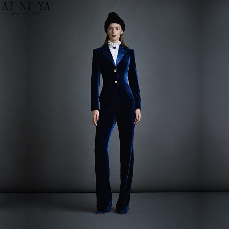 Темно синие бархатные женские деловые костюмы формальные офисные брючные костюмы Женская рабочая одежда Комплекты из 2 предметов облегающ