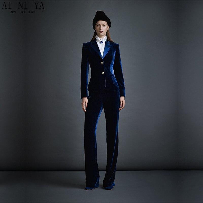 Dark Blue Velvet Women's Business Suits Formal Office Pant Suits Female Work Wear 2 Piece Sets Slim Fit Uniform Designs Blazers