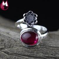 Authentic 925 Sterling Silver Bạc Nhẫn Nữ Fine Red Jade Cổ Điển Flowers Mở Ring Đối Với Phụ Nữ Jewelry Mẹ Quà Tặng Đảng SR42