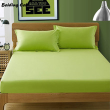 Wholesale Apple Green Fitted Sheet Hotel 25cm Deep Cotton Bed Sheet Mattress Cover Protector Twin Full Queen King Free Shipping