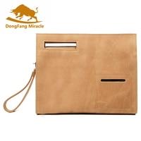 Brand New Crazy Horse Leather File Holder Man Vintage High grade Tablet Bag Day Clutch For Man Messenger Bags