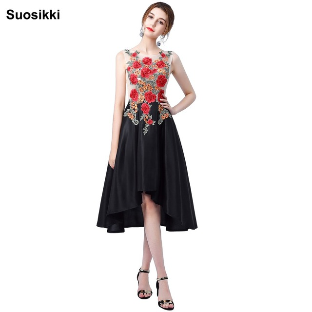 Suosikki Short front long back evening dresses New design embroidery high  low formal prom party gown robe de soiree 2bec6d9ee9c0