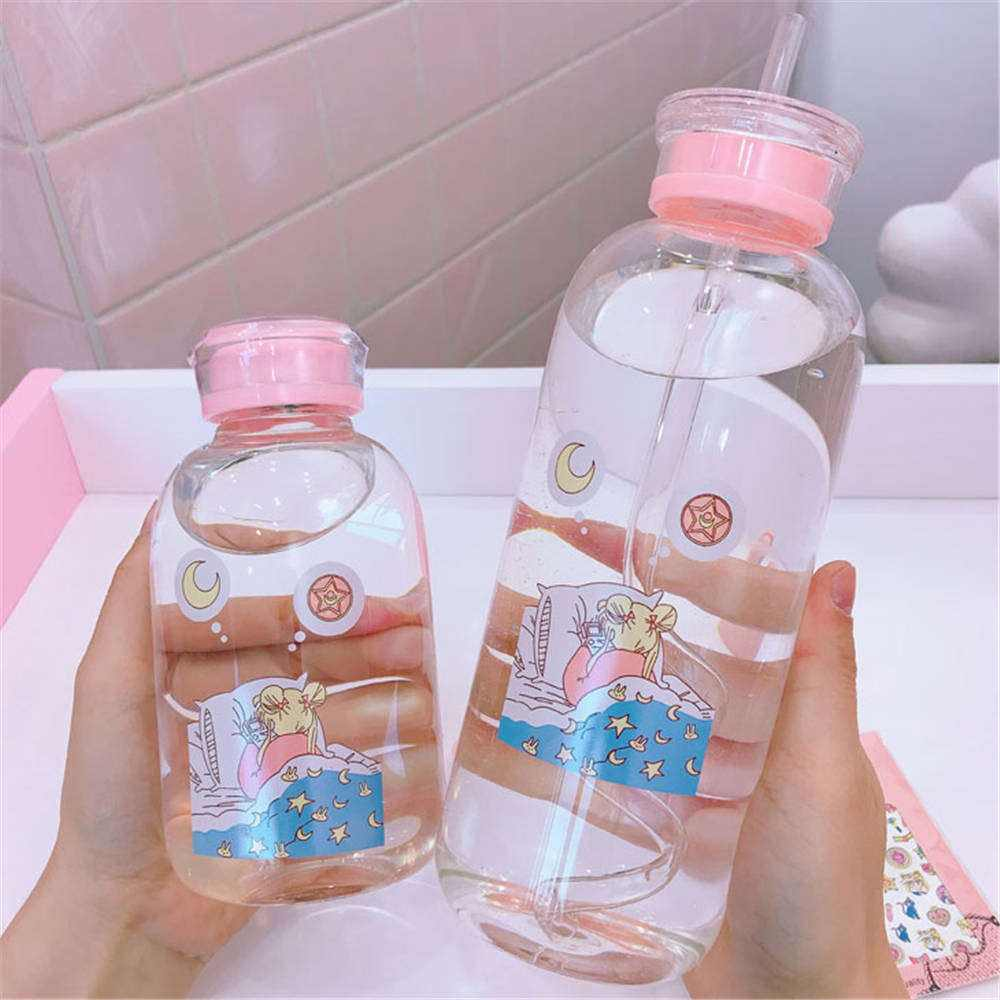 Japanese Cute Girl Cartoon Bottle Sippy Transparent Glass Bottle Student Large Capacity Leak-proof Drink Bottles No Sleeve