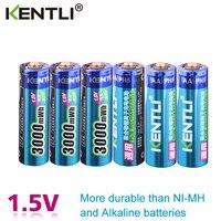 KENTLI 6pcs/pack High Capacity free shipping lithium ion batteries 3000mWh 1.5V lithium polymer battery rechargeable AA battery|Rechargeable Batteries|   -
